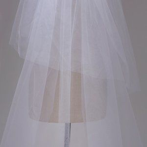 Two Layer Long Floral Lace Cathedral Veil WHITE
